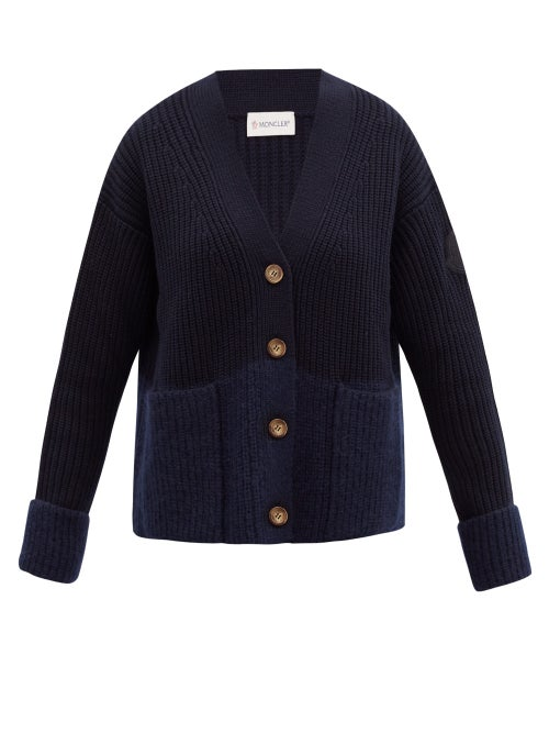Moncler - Two-tone Ribbed Wool-blend Cardigan - Womens - Navy