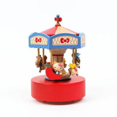 @雪花館@ 代購~正版Hello Kitty ♥ Wooderful life系列 旋轉木馬雙旋上下動音樂盒