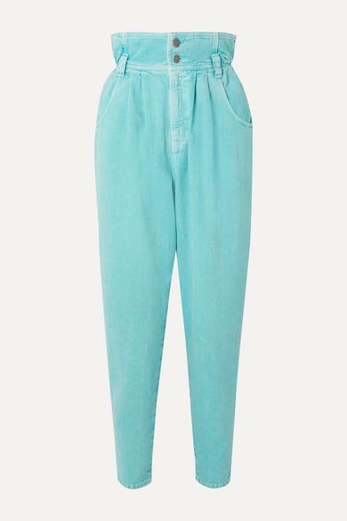 Gucci - 贴花高腰锥形牛仔裤 - 浅蓝色 - 26