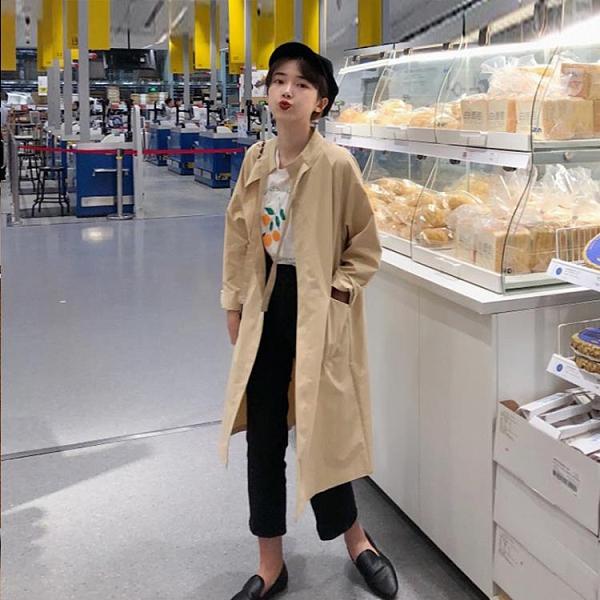 風衣韓版chic寬鬆薄款長袖卡其色氣質中長款風衣外套女潮【2021新春特惠】