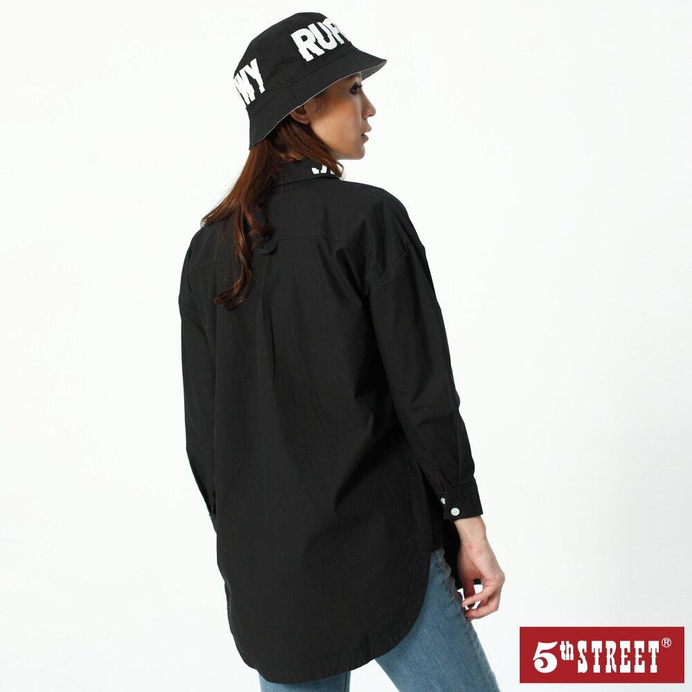 滿額領券再折$150   【5th STREET】女變化款中長版長袖襯衫-黑色