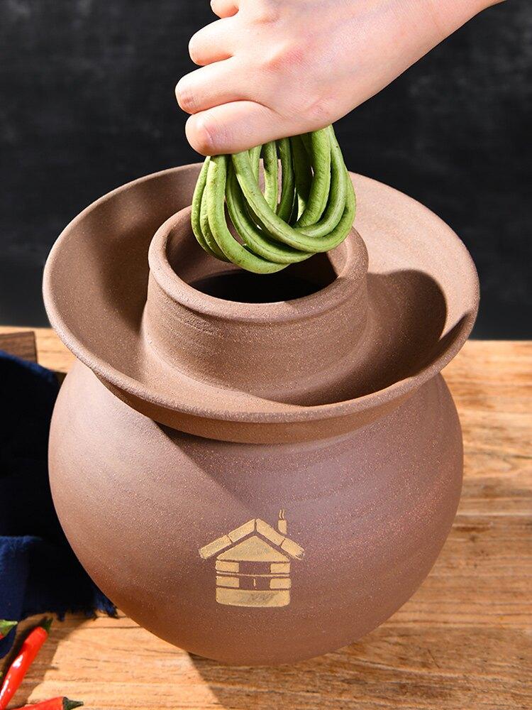 四川土陶泡菜壇子家用粗陶壇加厚無釉泡菜壇 雙十一