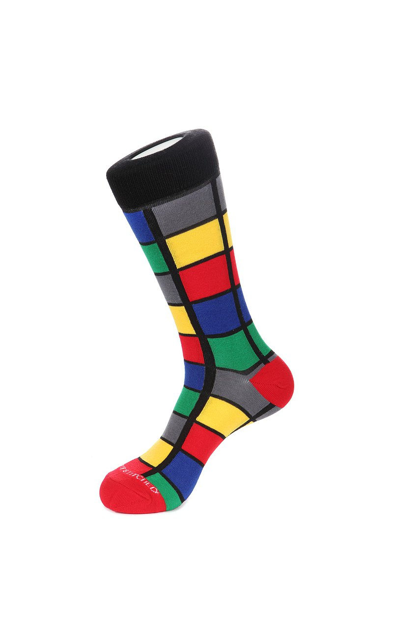Color Square Socks 彩色格子襪子 by Unsimply Stitched