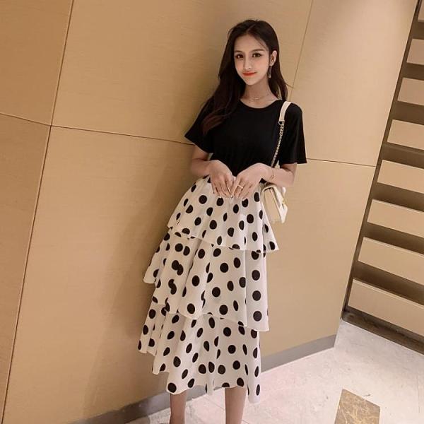 蛋糕裙 跨境2019新款韓版中長款高腰波點蛋糕連衣裙女裝A字裙學生裙子潮
