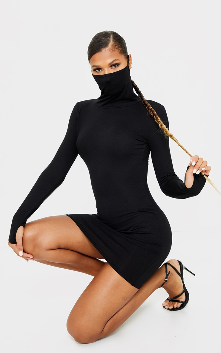 Black Jersey Long Sleeve Mask Bodycon Dress