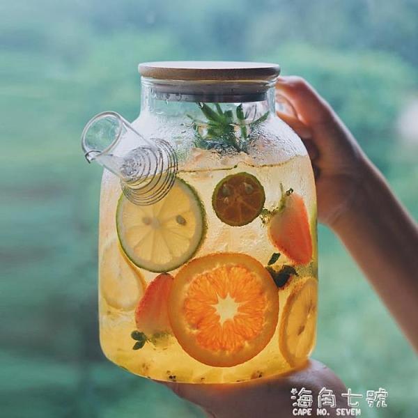日式冷水壺涼水壺玻璃耐高溫家用泡茶壺水果茶煮茶器燒水壺大容量元旦全館免運