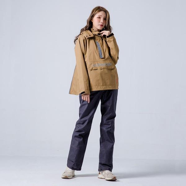 MAX專利透氣背包款套頭兩件式雨衣 / 牛仔褲版本- 棕色