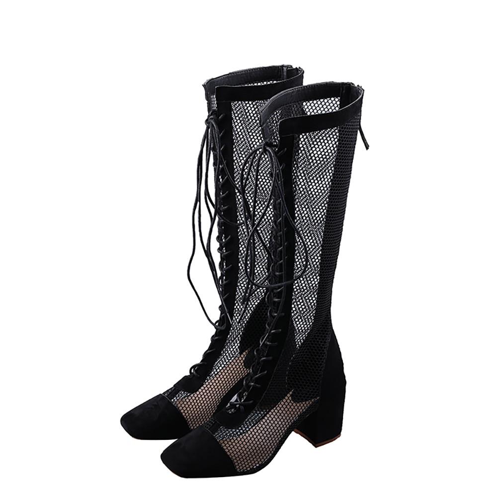 馬丁靴 不過膝長筒靴女2020年夏季透氣靴子鏤空百搭網紅高跟夏天高筒長靴