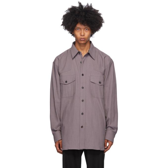Dries Van Noten 紫色斜纹衬衫