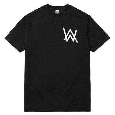 Alan Walker Logo 左胸 雙面 短袖T恤 黑色 全球百大電音DJ 電音舞曲派對EDM