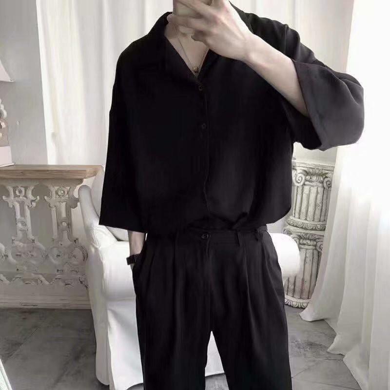 素色襯衫 韓版素色簡約寬鬆休閒長袖襯衫男女生百搭素面薄襯衫(RSJ968)【壹號站】