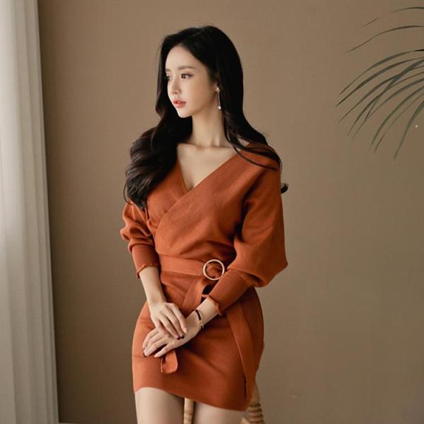 長袖洋裝 秋冬新款正韓氣質性感V領系帶 修身顯瘦包臀針織打底連身裙女