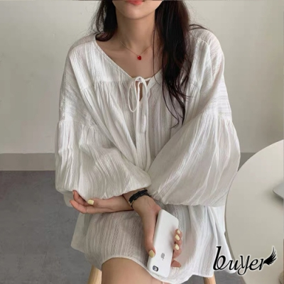 【buyer 白鵝】浪漫 綁帶V領長版燈籠袖上衣(白)