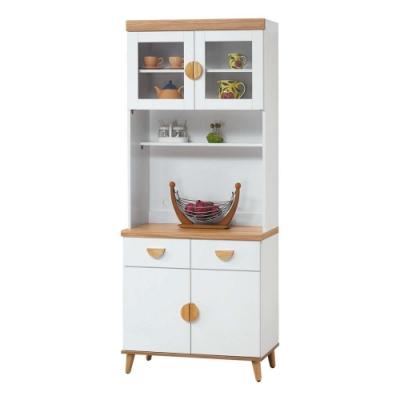 柏蒂家居-貝莉2.7尺四門二抽高餐櫃/收納置物櫃(上+下座)-82x40x202cm