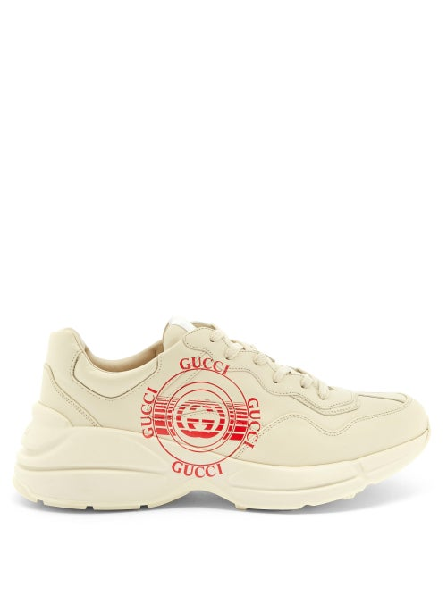 Gucci - Rhyton Gg-disc Leather Trainers - Mens - Beige Multi