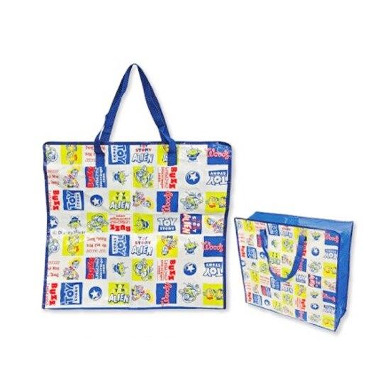 【領券折$30】小禮堂 迪士尼 玩具總動員 方形防水購物袋 環保購物袋 衣物收納袋 側背袋 (藍白 格圖)
