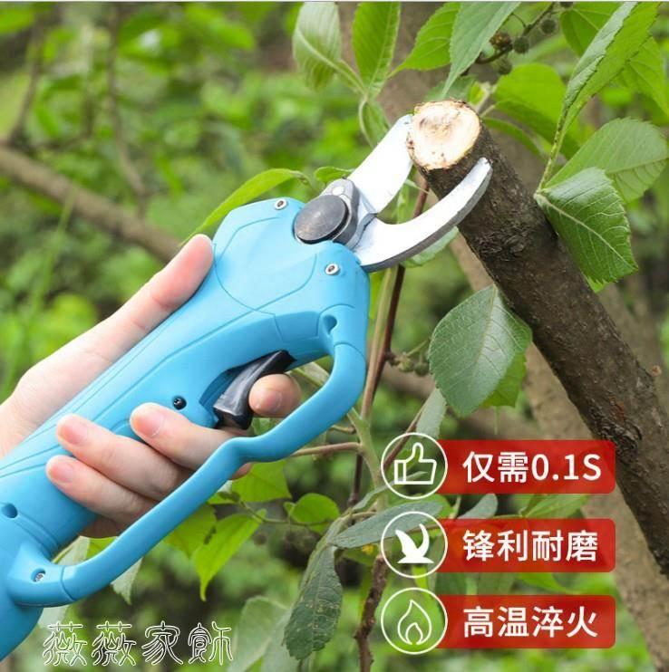 電剪刀 電動修枝剪電剪刀舒暢果樹充電式強力便攜式鋰電池加長桿背負式