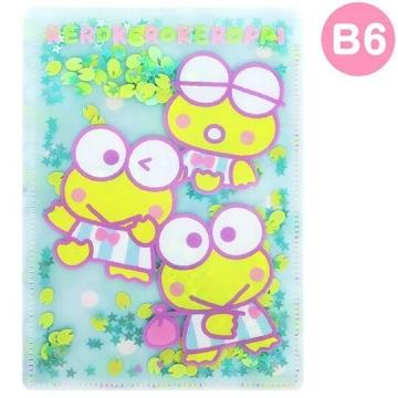 大眼蛙 雙開式文件夾《B6.綠白.亮片流沙》資料夾.L夾.檔案夾