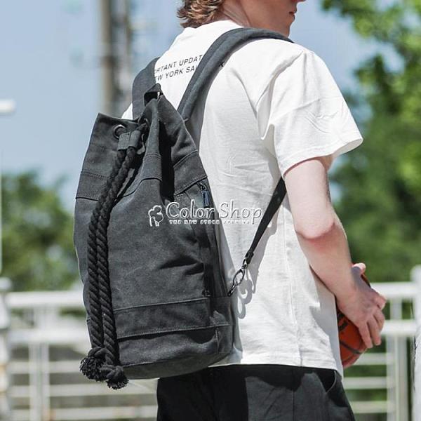 束口包抽繩男帆布健身背包戶外運動籃球包輕便水桶包旅行雙肩包女 母親節特惠