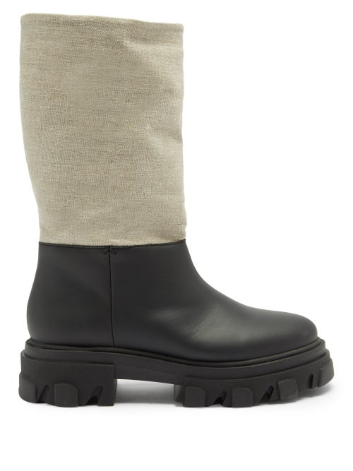 Ganni - Leather And Linen Snow Boots - Womens - Black Cream