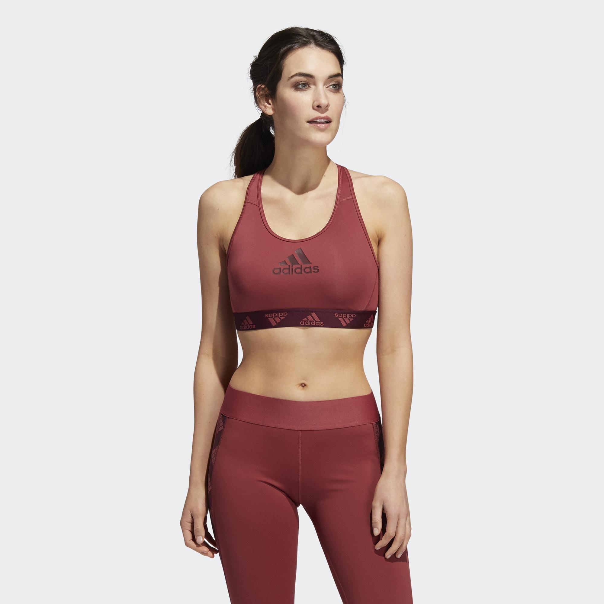 Adidas LOGO 女裝 運動內衣 慢跑 訓練 可拆卸式襯墊 中度支撐 背面透視 酒紅【運動世界】GC8176
