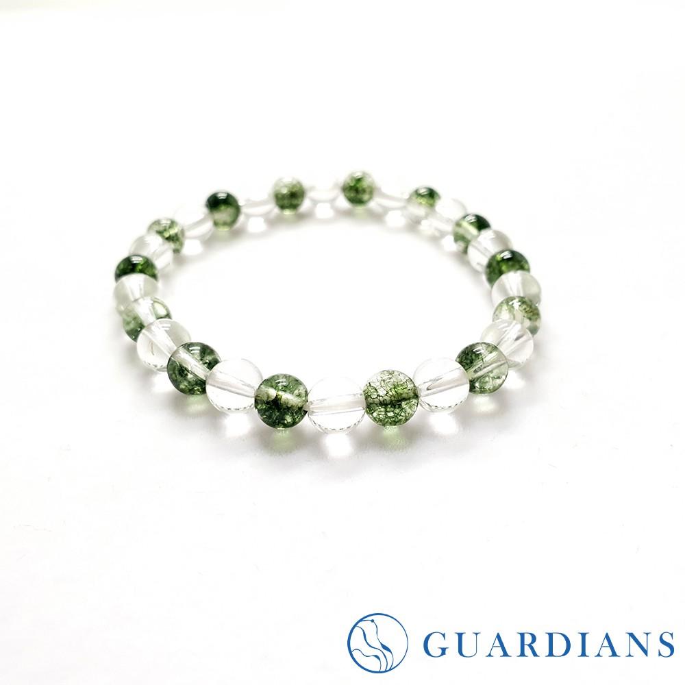 【Guardians】爆花綠幽靈白水晶招財手鍊 /女性配件/串珠手鍊/能量水晶/白水晶/客製化飾品