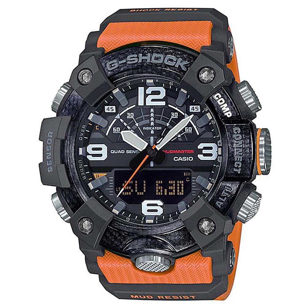 【CASIO卡西歐】G-SHOCK 碳纖維核心防護四重感應器設計藍芽錶-橘(GG-B100-1A9)