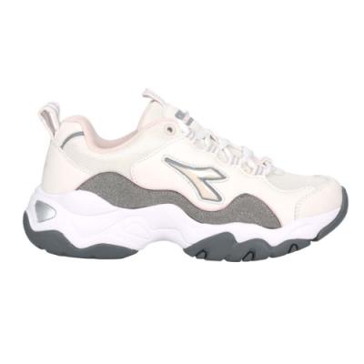 DIADORA 女休閒運動鞋-復古 老爹鞋 慢跑 寬楦 DA33616 白灰粉