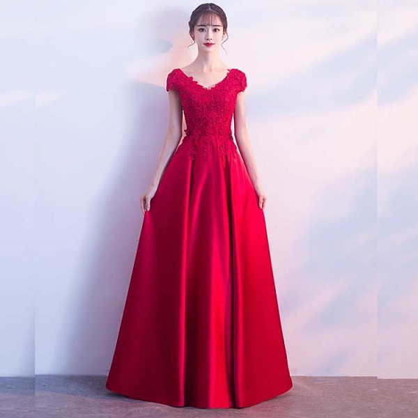 氣場女王宴會敬酒服新款結婚新娘蕾絲長裙孕婦平時可穿晚禮服 中秋節全館免運