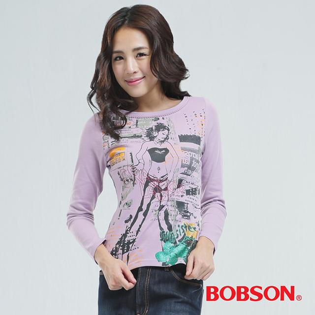 BOBSON 女款印圖個性女郎T恤