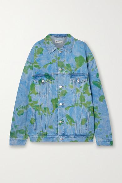 Balenciaga - 大廓形花卉印花牛仔外套 - 蓝色 - FR38