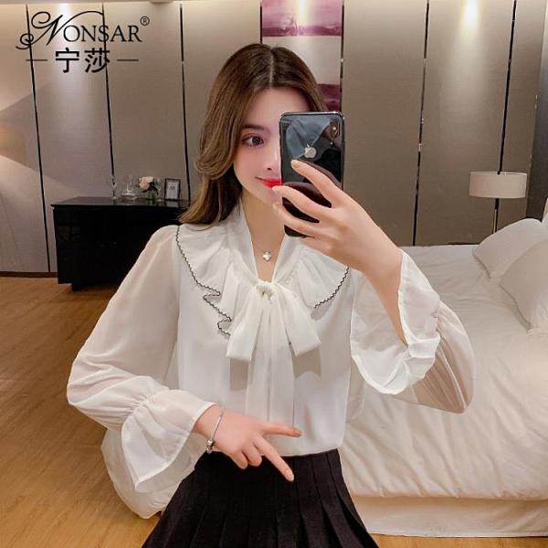 2020早秋新款設計感喇叭袖雪紡長袖襯衫上衣蝴蝶結綁帶白色襯衣女