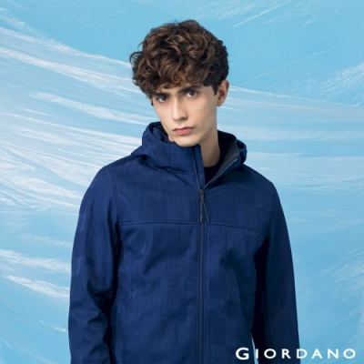 GIORDANO 男裝高機能可拆式連帽外套 - 97 寶藍/黑