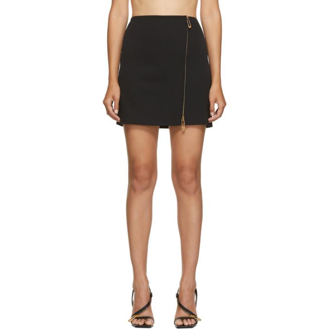 Versace 黑色拉链羊毛半身裙