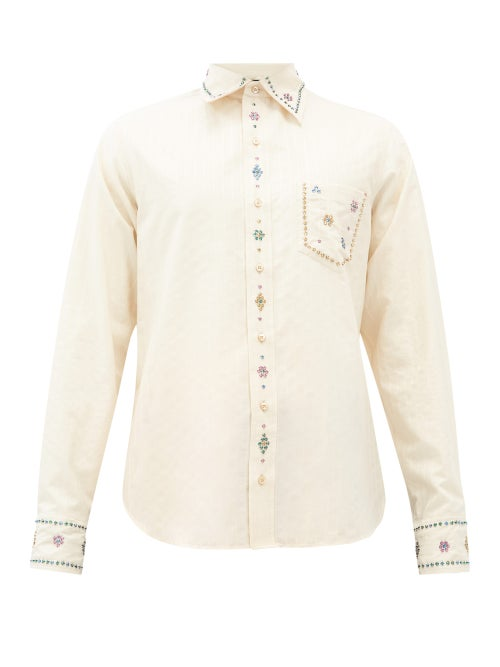Gucci - Crystal-embellished Striped Cotton Shirt - Mens - Beige Multi