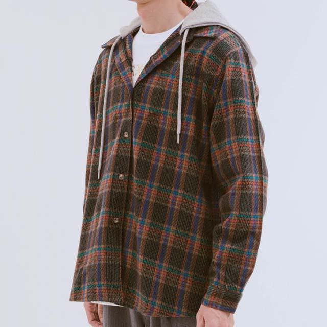 ROCKET x LUNCH - 毛絨格紋連帽襯衫