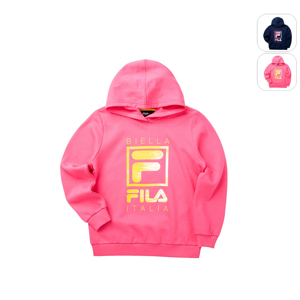 【FILA】KIDS 孩童款 附帽T恤-桃紅 5TET-8909-PC