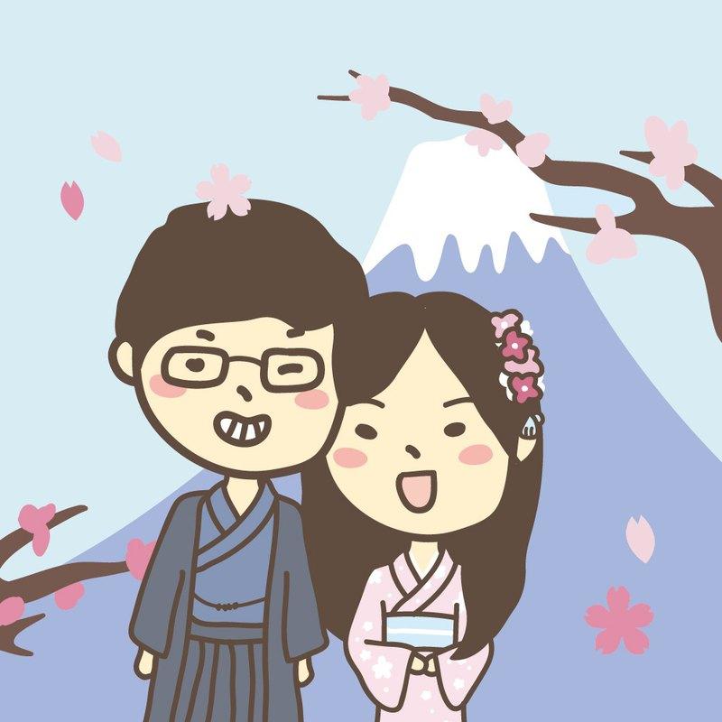 日本富士山 穿和服 地標手繪Q版客製化數字油畫 禮物 送禮 紀念