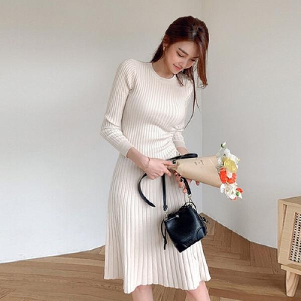 OL通勤洋裝禮服裙3982#韓版高彈抽繩式修身顯瘦毛衣針織中長款連身裙NA71A紅粉佳人