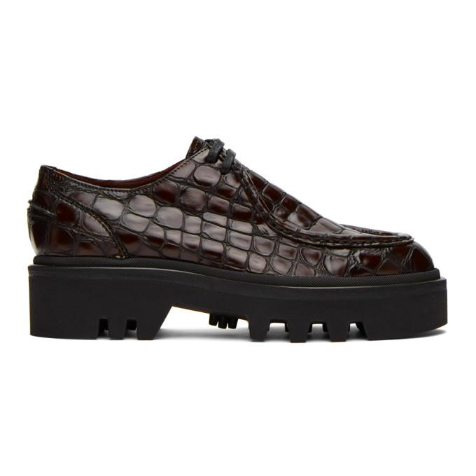 Dries Van Noten 棕色鳄鱼纹压花德比鞋