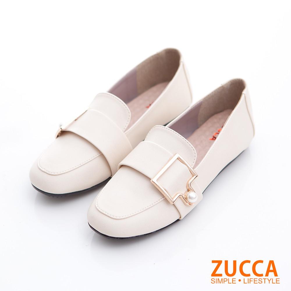 【ZUCCA】珍珠金屬皮革平底鞋-z6809we-白