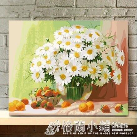 數字油畫diy手繪油畫 客廳大幅風景花卉填色裝飾畫 餐廳野菊花 全館免運