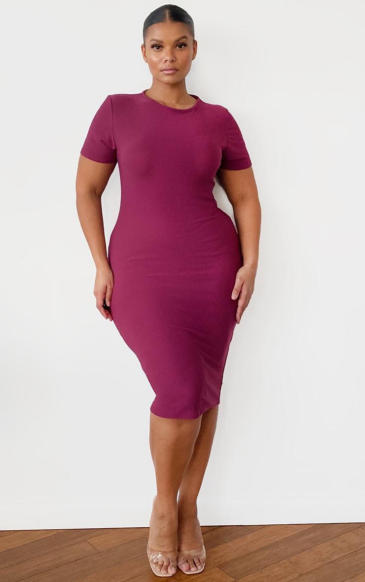 Plus Burgundy Cap Sleeve Midi Dress