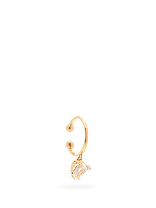 Mizuki - Diamond, Topaz & 14kt Gold Single Ear Cuff - Womens - Pearl
