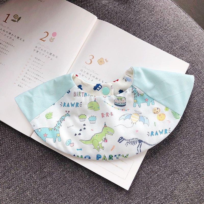 童趣恐龍樂園 韓國有機棉 手工360度六層紗圍兜 口水巾