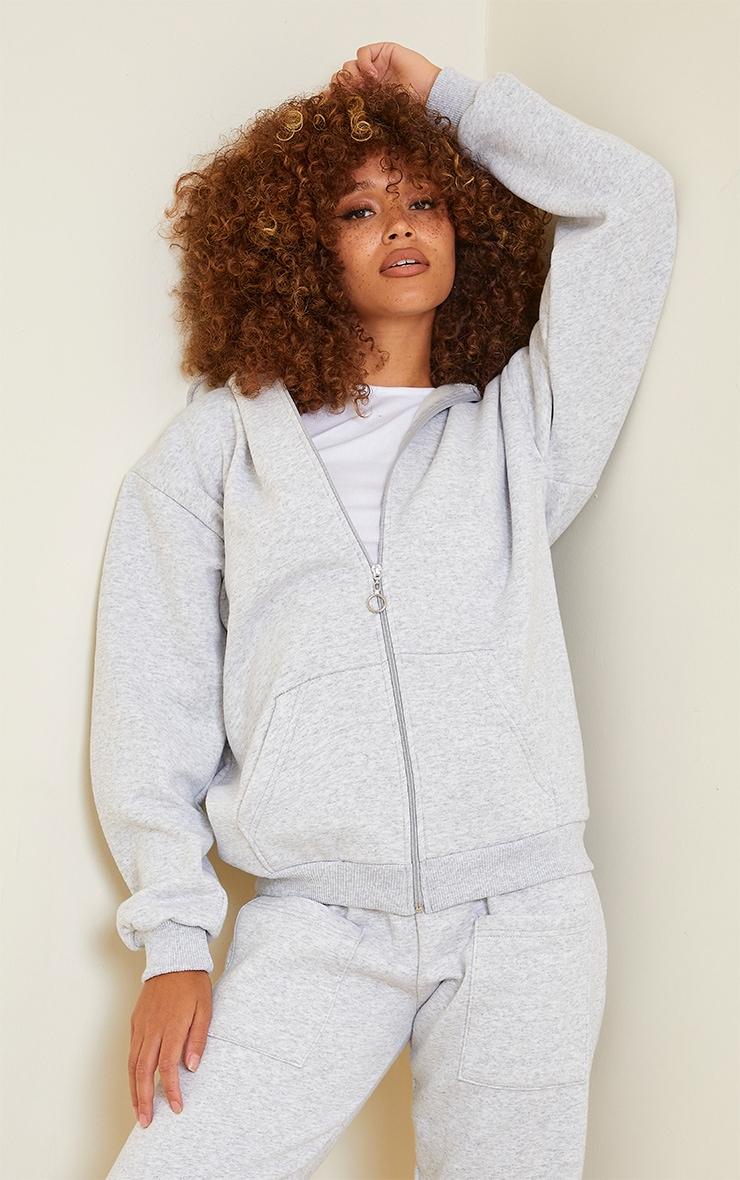 Ash Grey Extreme Oversized Pocket Front Zip Through Hoodie