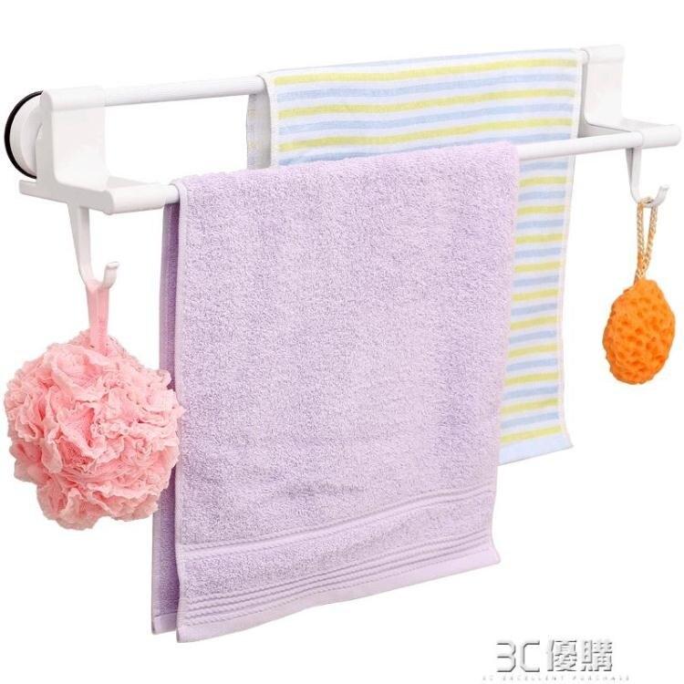 毛巾架免打孔衛生間毛巾桿浴巾架子吸盤式浴室掛架雙桿毛巾置物架 秋冬新品特惠