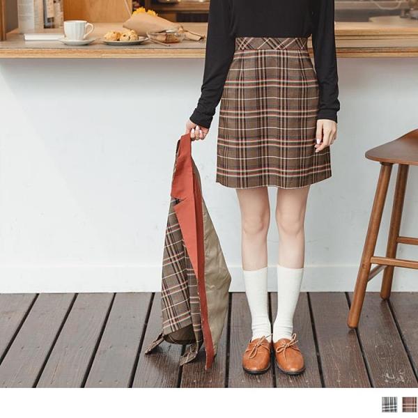《CA2121-》英倫風撞色格紋A字短裙 OB嚴選