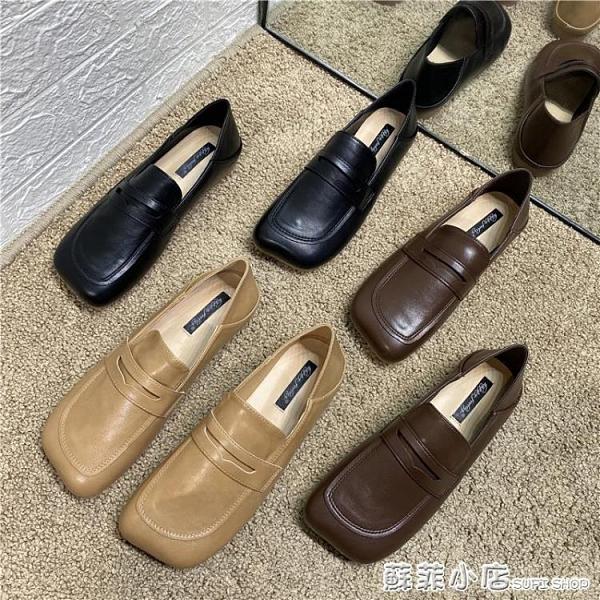 女單鞋子新款女INS同款英倫風方頭兩穿平底小皮鞋懶人樂福鞋