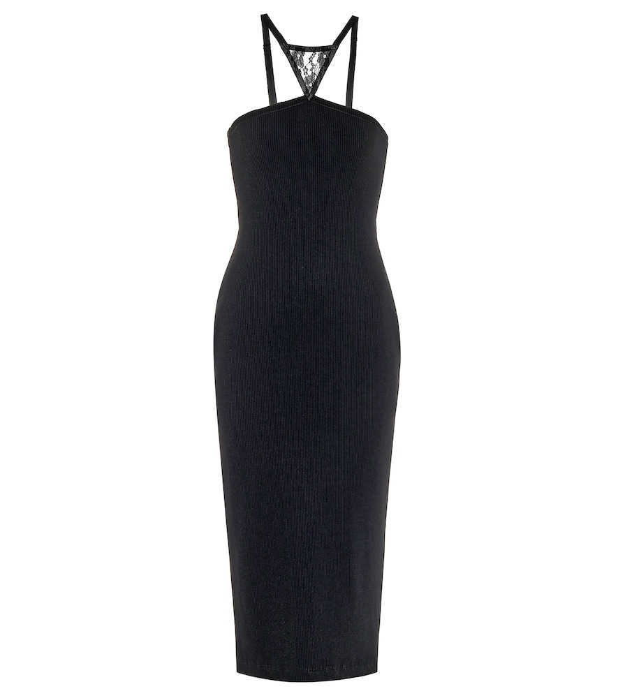Lace-trimmed ribbed knit midi dress
